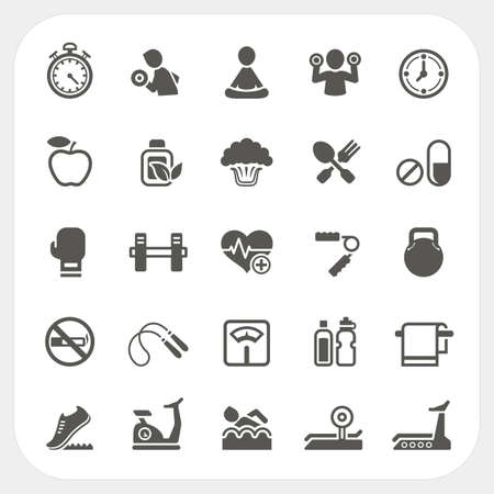 Health and Fitness icons set, vector
