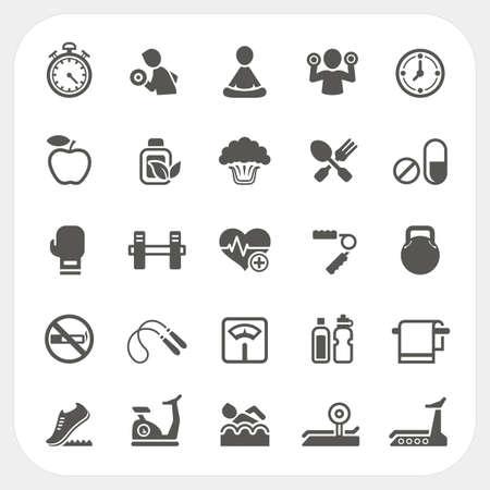 Health en Fitness icons set, vector Stock Illustratie