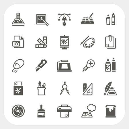 pen tablet: Graphic design icons set, vector Illustration