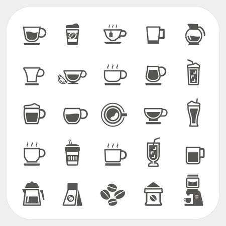 Coffee cup and Tea cup icons set, vector Illustration