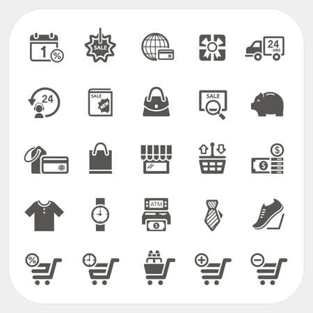 Shopping icons set, vector Vector
