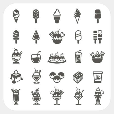 Ice cream icons set, vector