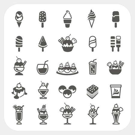 helados caricatura: Iconos del helado fijan, vector