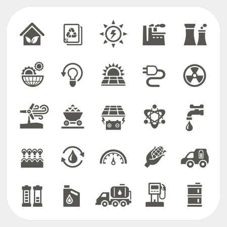 Energy and Power icons set, vector