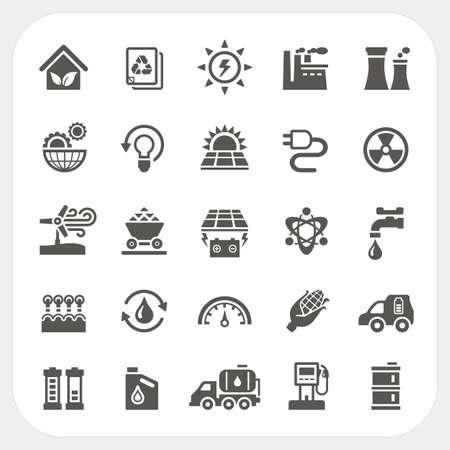 icônes de l'énergie et de puissance ensemble, illustration