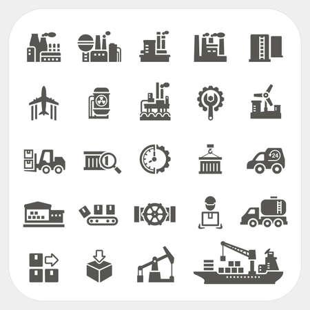 Industry icons set, vector Stock Illustratie