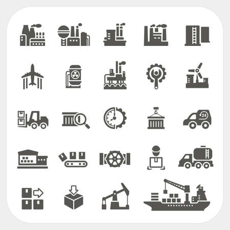 Industry icons set, vector Çizim