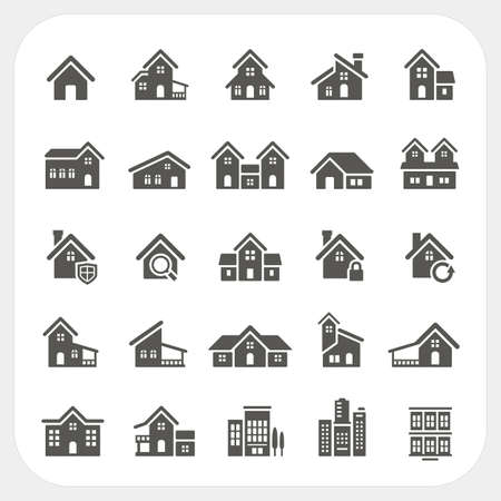 Houses icons set Ilustrace