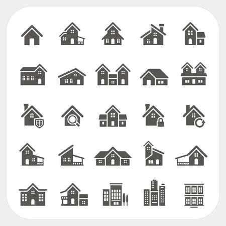 Huizen pictogrammen instellen Stock Illustratie