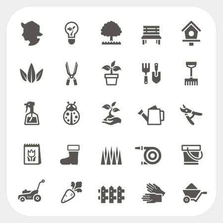 mower: Gardening icons set