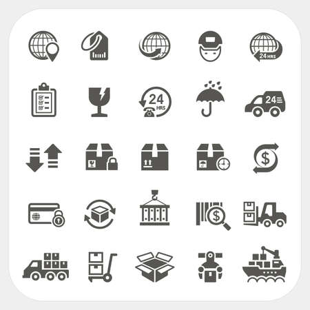 Logistics and Shipping icons set, vector