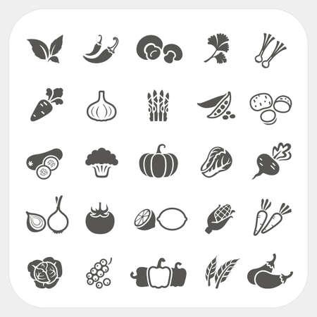 repollo: Iconos vegetales establecen, Vector