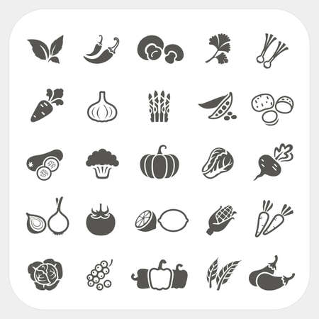 Vegetable icons set, Vector