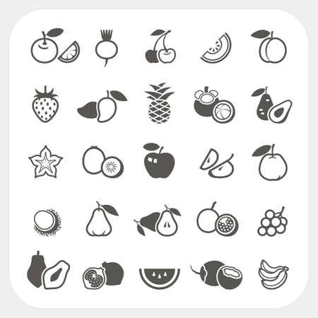 mangostano: Icone della frutta set, vettore Vettoriali