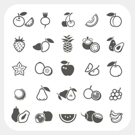 Fruit icons set, Vector Illustration