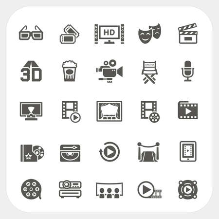 movie screen: Movie icons set, Vector