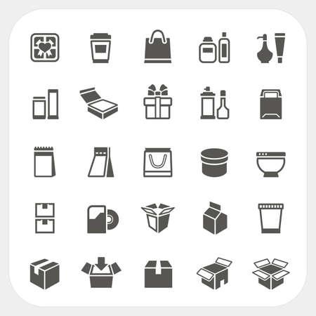 Verpakking pictogrammen instellen, Vector Stock Illustratie