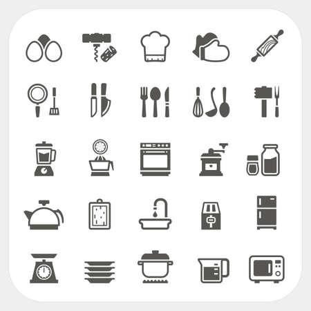 microondas: Cocina y cocina iconos conjunto, Vector Vectores