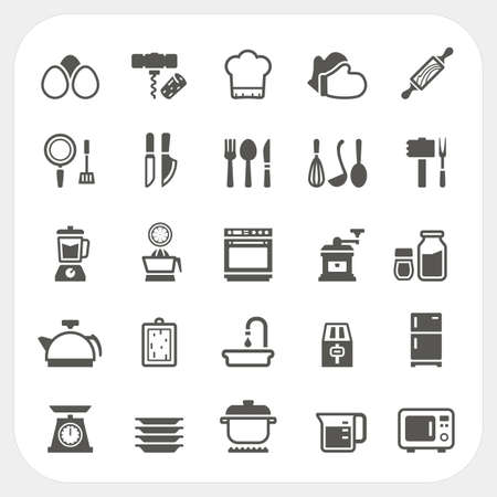 microwave oven: Kitchen and cooking icons set, Vector