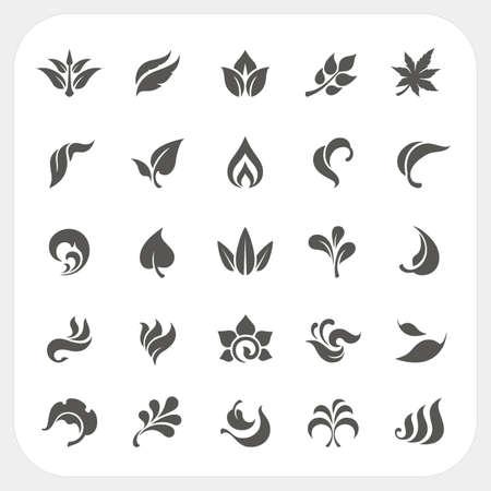 Leaf icons set, Vector