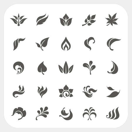 Leaf icons set, Vector
