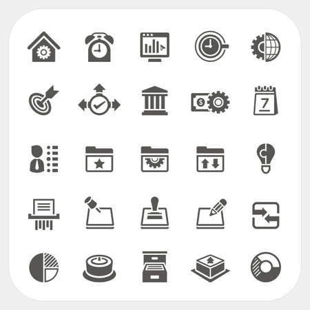 document management: Business and office icons set, Vector