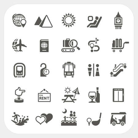 Travel and Vacation icons set, Vector