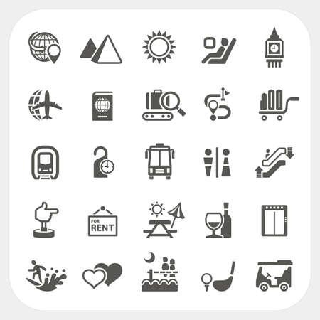 Reizen en Vakantie, iconen, Set, Vector Stock Illustratie