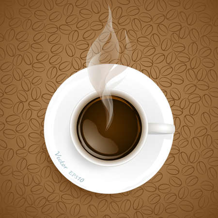 coffee beans background: Cup of coffee on coffee beans background Illustration
