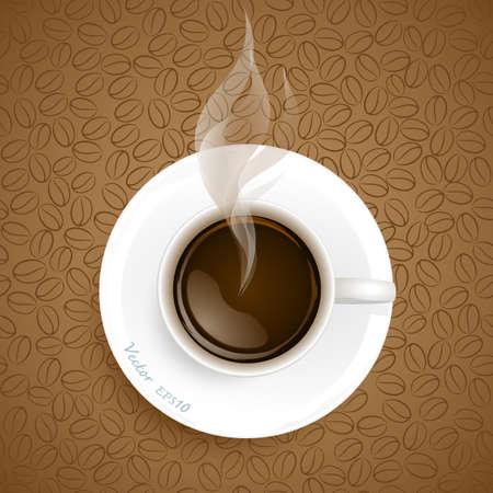 Taza de caf� en caf�, granos de fondo