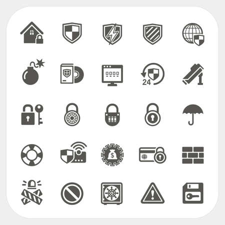 Security icons set Banco de Imagens - 30548091
