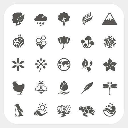 Nature icons set Stock Illustratie