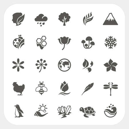Nature icons set Illustration