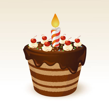 birthday cakes: Chocolate cake for birthday Illustration