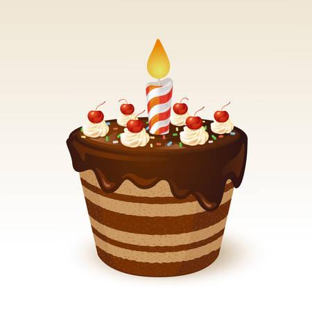pastel de cumplea�os: Pastel de chocolate para el cumplea�os Vectores
