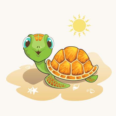 Cute turtle cartoon on the beach Stock Illustratie