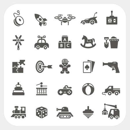 game gun: Toy icons set