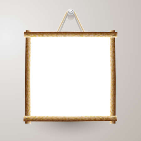 Wood frame white board with rope hanging on a nail Illustration