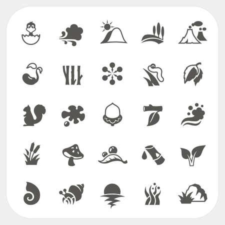 Nature icons set Illustration