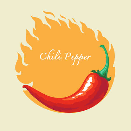 green chilli: Hot chili pepper with fire