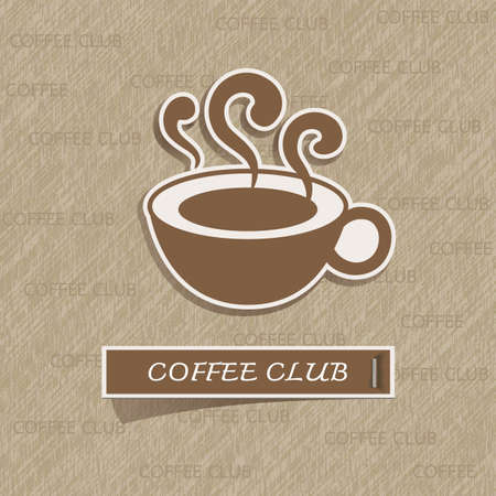 listing: Coffee cup sticker on brown paper