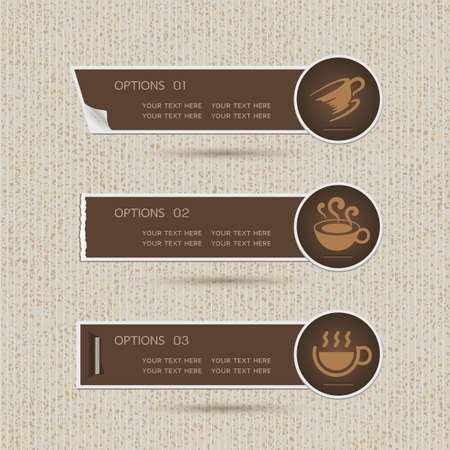 Sticker label with Coffee icons on brown paper