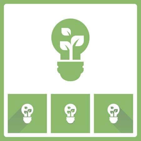green bulb: Green Bulb icon with leaf inside Illustration