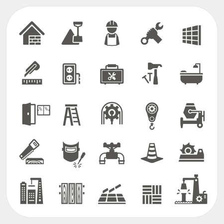 Bouw pictogrammen instellen Stock Illustratie