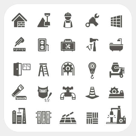 tile: Construction icons set