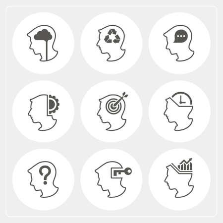 brain work: Human head with symbol work of brain Illustration