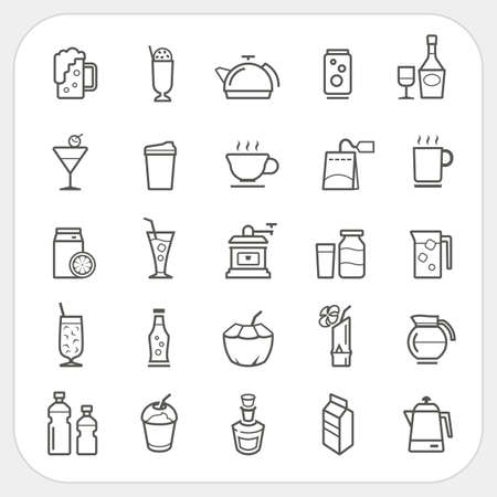 bebida: Beber e ícones bebidas definido