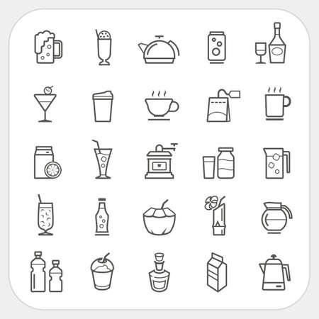 Drinken en drinken iconen set Stock Illustratie
