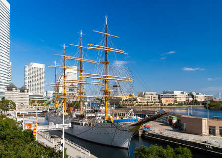 maru: YOKOHAMA, JAPAN - OCTOBER 28 2014 Nippon Maru was built in 1930, a retired sailing ship which permanently docked at Minato Mirai and opened to the public as Yokohama Port Museum