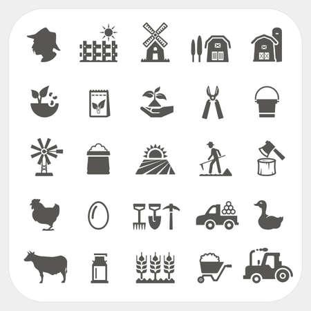 agricultura: Agrícolas y de la agricultura de conjunto de iconos